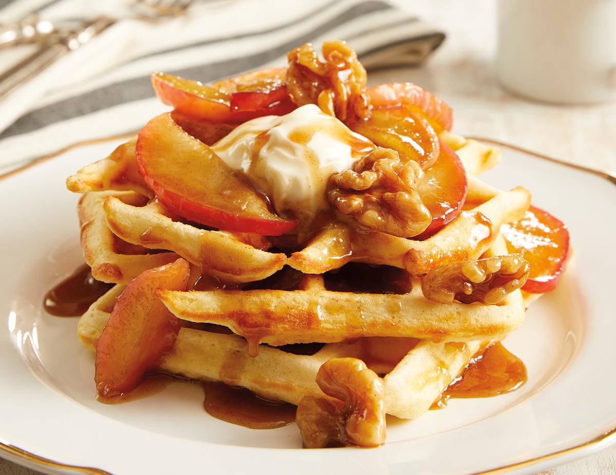 Caramelized-Apple-Walnut-Belgian-Waffles