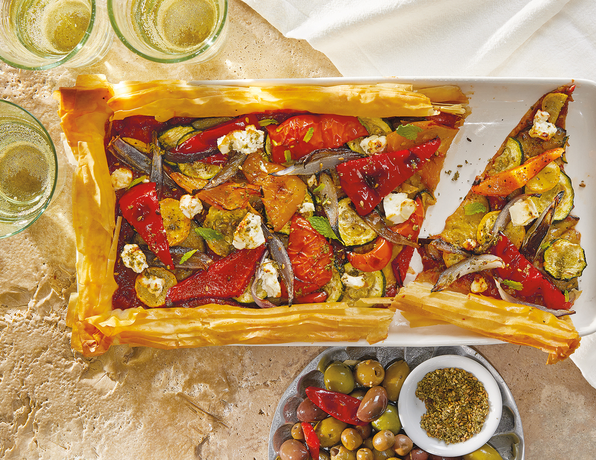 Turkish-Zaatar-and-Veggie-Phyllo-Tart