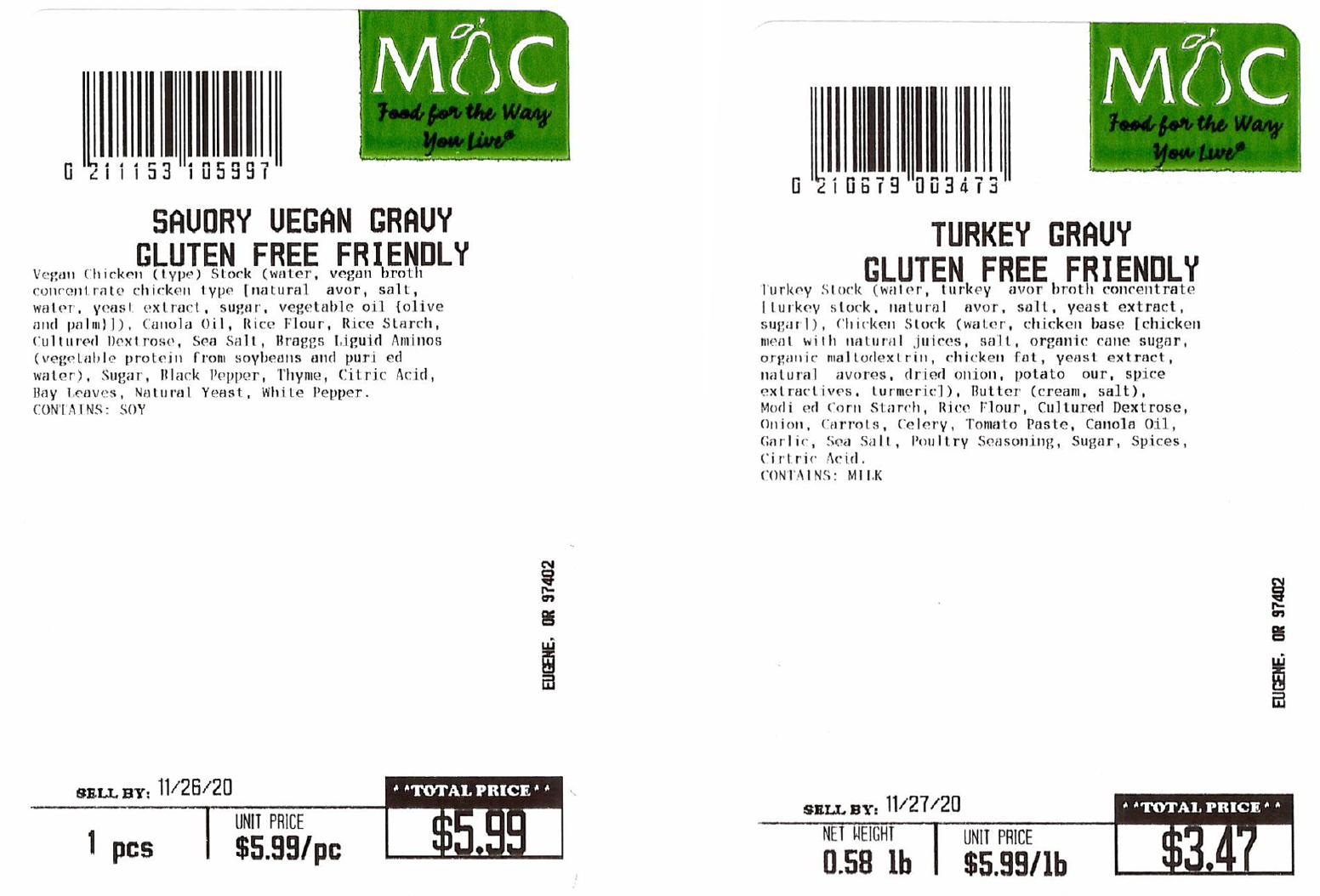 Turkey Gravy Recall Label